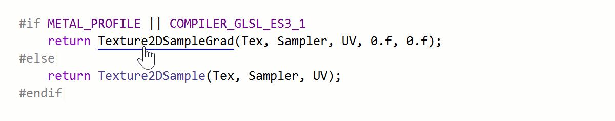 Navigation in inactive preprocessor blocks