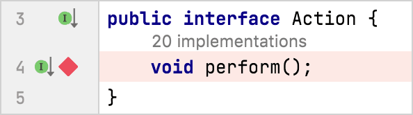 Method breakpoint is set at the perform() interface method