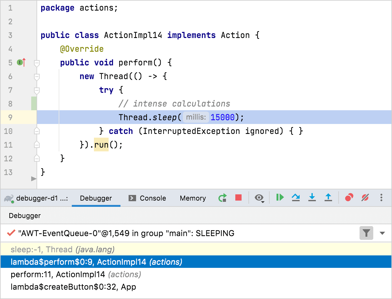 You can examine threads in the Debugger tab