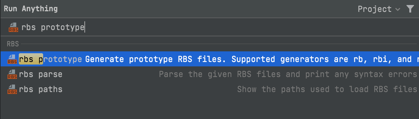 Run RBS commands with Run Anything