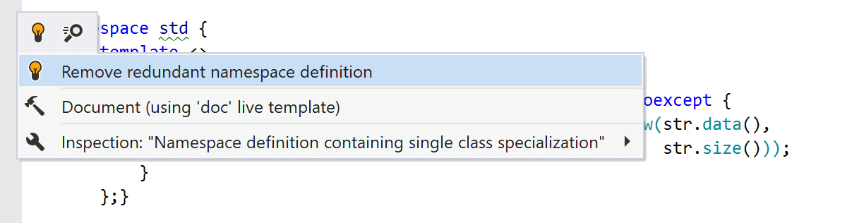 Namespace definition containing single class specialization