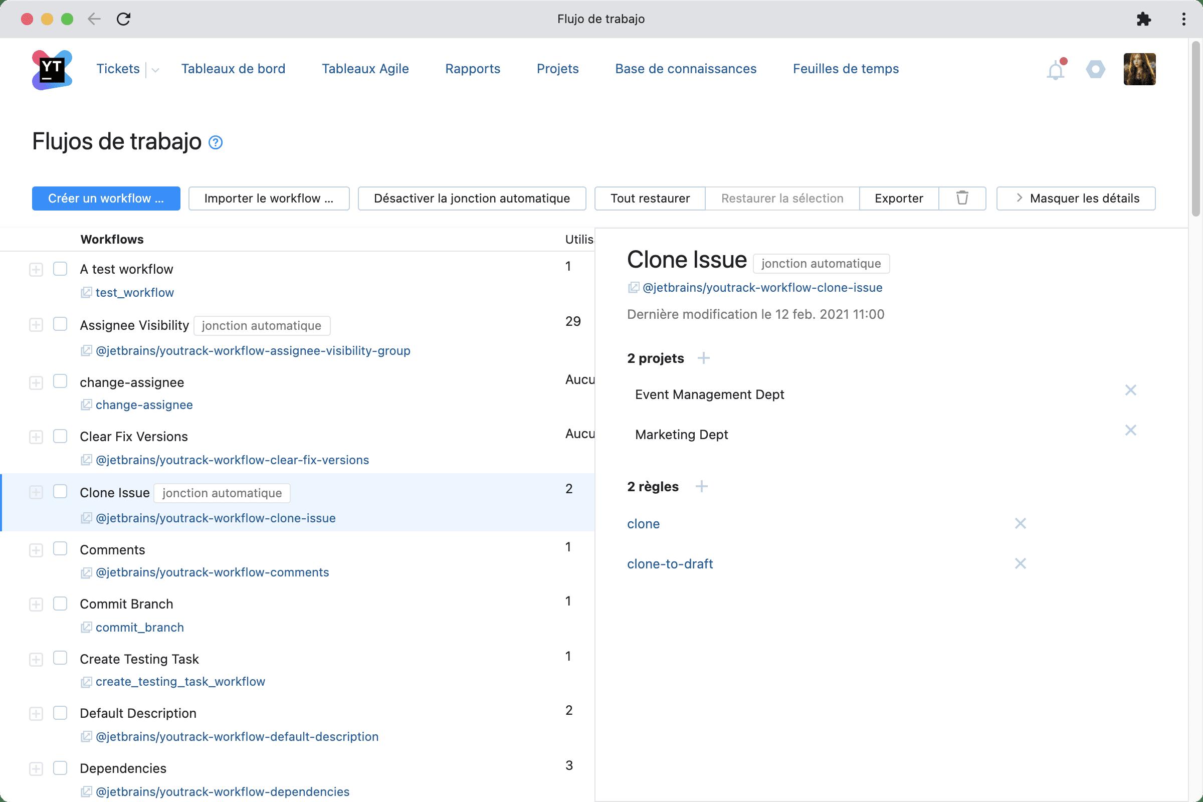Fonctionnalité Workflows dans YouTrack