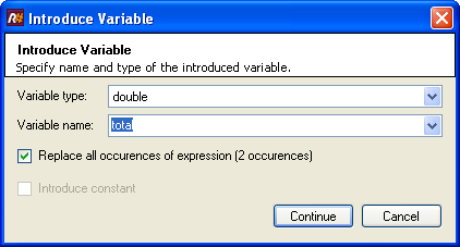 Introduce Variable dialog