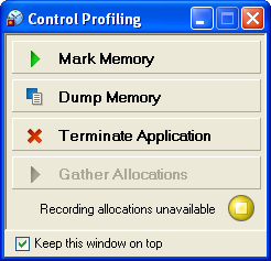This dialog is used to start and stop profiling