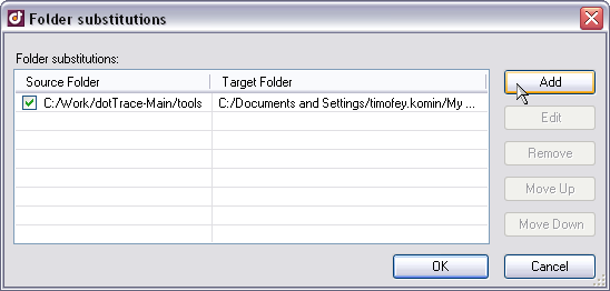 DotTrace\'s Folder Substitutions Dialog